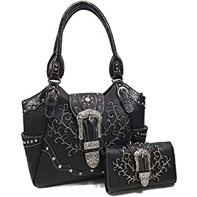 Zelris American Albino Western Floral Buckle Conceal Carry Women Tote Purse Handbag with Crossbody Wallet Set (Black)