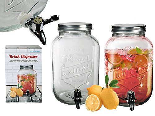 S.Ariba | 787851 | Getränkespender 3,5 Liter aus Glas mit Hahn Saftspender Getränke Dispenser Spender im 10er Set