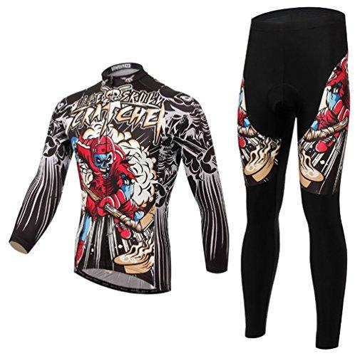 Baymate Unisexe Vêtements de Sport de Vélo Bike Outdoor Maillot de Cyclisme à Manches Longues + Pantalon Quick Dry M
