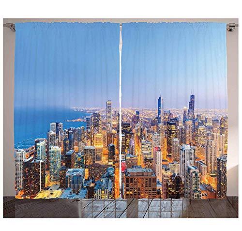 MUXIAND Chicago Skyline Curtains luchtfoto van de stad met Michigan Lake Vibrant City Panorama Avondtijd woonkamer slaapkamer raam