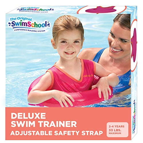 SwimSchool Original Deluxe TOT Swim Trainer for Kids, Toddler Swim Vest, Learn-to-Swim, Adjustable Safety Seat, Berry/Red (Packaging may vary)