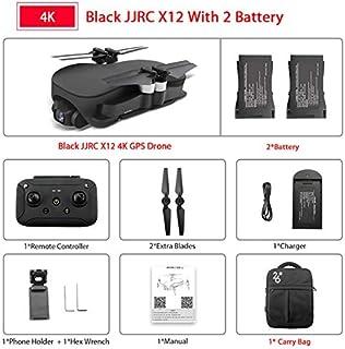 RONSHIN JJRC X12 Anti-Shake 3 Axis Gimble GPS Drone WiFi FPV 1080P 4K HD Camera Brushless Motor Foldable Quadcopter Vs H117s Zino Black 4k 2 Batteries