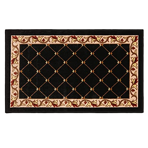 House, Home and More Skid-Resistant Carpet Indoor Area Rug Floor Mat – Traditional Lattice with Floral Border – Ebony Black – 3 Feet X 5 Feet