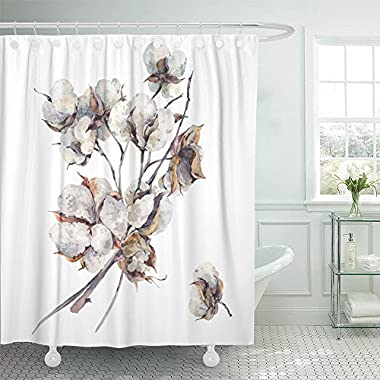 Emvency Shower Curtain Print 66x72 Watercolor Vintage Bouquet of Twigs and Cotton Flowers Botanical Illustrations For Bathroom