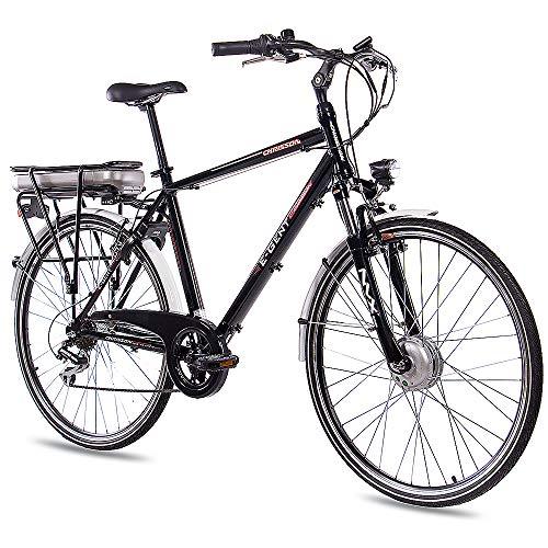 CHRISSON 28 Zoll E-Bike Trekking und City Bike für Herren - E-Gent schwarz mit 7 Gang Acera Kettenschaltung - Pedelec Herren mit Bafang Vorderradmotor 250W, 36V