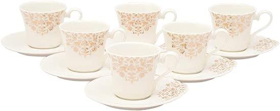 Shallow Bone China Tea Cup and Saucer, 12-Piece Set - White FPR-030
