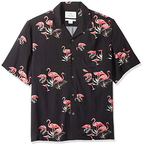 28 Palms Men's Relaxed-Fit Vintage Washed 100% Rayon Tropical Hawaiian Shirt, Black Flamingo...