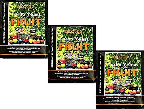 AlcoTec HUGBERT Fruit Turbo Enzym, Alkohol Gärhefe, Hefe, Brennhefe, Destillation, Obst, 3 Stück