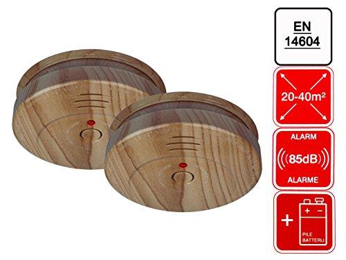2x Photoelektrischer Rauchmelder ELRO RM144H Holz Buche Brandmelder inkl. 9V Batterie...