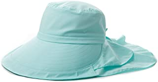 SIGGI Womens Summer Bill Flap Cap UPF 50+ Cotton Sun Hat with Neck Cover Cord Wide Brim Green