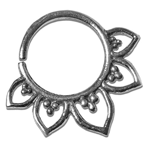 viva-adorno® 1,0mm Nasen Ring Silber Septum Ohr Piercing Ring Vintage Antik Tragus Helix Verschiedene Designs wählbar Z521, D2