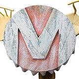 VICWOWONE - Mantel redondo de poliéster de 35 pulgadas con letra mayúscula M natural, aspecto desgastado, textura, lenguaje, mesa decorativa, color blanco coral y crema