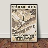 Chateau Doex Schweiz Print Vintage Ski Poster Skifahrer