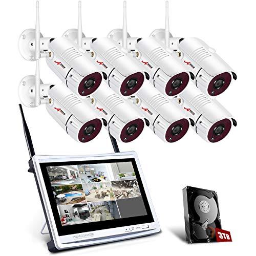 Tout-en-Un Système de Caméra Surveillance avec 12 Pouce LCD Moniteur, kit de Vidéo Caméra de Sécurité sans Fil, 8CH 1080p WiFi DVR avec 8pcs 2.0MP CCTV IP WiFi Caméras, 3TB Disque Dur, APP Gratuite
