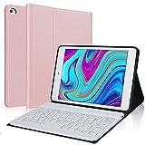 IVEOPPE Funda con Teclado para iPad Mini 5 2019, Funda Ultrafino con Español Ñ Teclado Bluetooth Inalámbrico Compatible con 7.9 Pulgadas iPad Mini 5/4/3/2/1 (Oro Rosa)