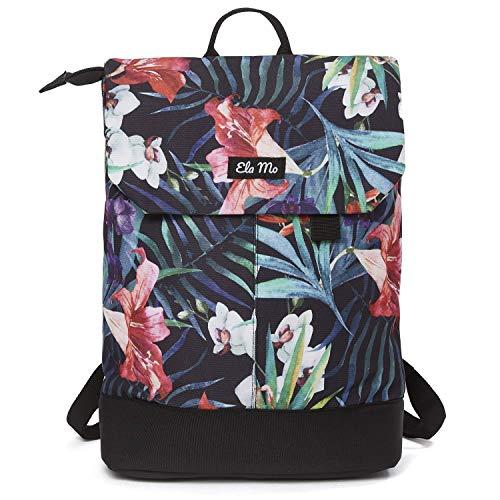 Ela Mo Rucksack Damen - Schön u. Durchdacht - Daypack mit Laptopfach & Anti Diebstahl Tasche für Ausflüge, Uni, Schule u. Büro (Tropical Heat)