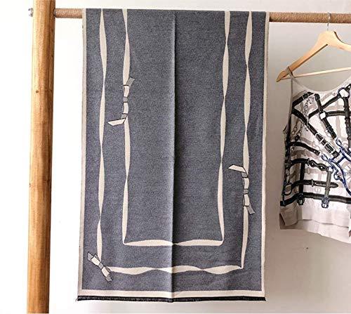 Sportinggoods sjaal vrouwelijke herfst en winter imitatie kasjmier dubbelzijdige boog slabbetjes dikke dual use gordijn sjaal grijs