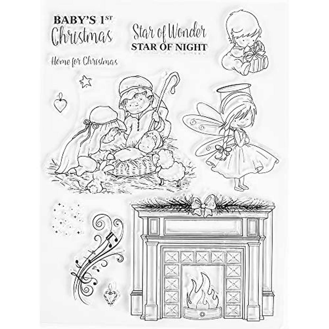 MaGuo Baby's 1st Christmas Clear Stamps Happy Birthday Stamps Card Making Decorative DIY Scrapbooking