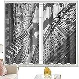 Cortinas para barra, color blanco y negro, cielo en Manhattan W52 x L84 pulgadas, cortinas opacas para dormitorio