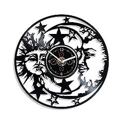 HandmadeCorp Astrology Wall Clock Vintage Vinyl Record Retro Wall Clock Sun and Moon Art Nature Sky Wall Clock 12 Inch for Boyfriend Night Sky Art Birthday Gift Gift for Husband New Year Gift
