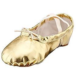 cheap MSMAX Ballet Shoes Women's Dance Shoes Men Girls Boys 10M Gold USA Women