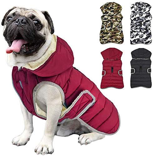 Etechydra Reflektierend Hundejacke with Abnehmbarem Hut, wasserdichte Winter Fleece Warme Jacke Hundemantel, Hund Jacken Mantel Hoodie Hundejacke für Kleine Mittelere und Große Hunde, Rot,XL