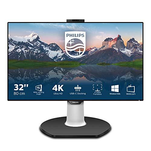 Philips 329P9H - 32 Zoll UHD USB-C Docking Monitor, Webcam, höhenverstellbar (3840x2160, 60 Hz, HDMI 2.0, DisplayPort, USB-C, RJ45, USB Hub) schwarz