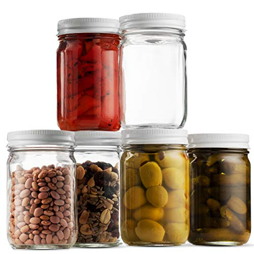 Glass Mason Jars (6 Pack) - 12 Ounce Regular Mouth Jam Jelly Jars, Metal Airtight Lid, USDA Approved Dishwasher Safe USA Made Pickling, Preserving, Decorating, Canning Jar, Craft and Dry Food Storage