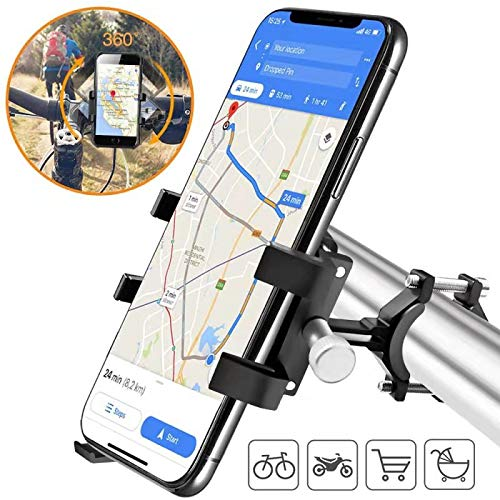 Bike Phone Holder,Metal Phone Mount for Bicycle/Mountain Bike/Motorbike, Support 360° Screen Rotate Compatible with iPhone,Samsung,Huawei,Google, etc.4 to 8' Screen Smartphone