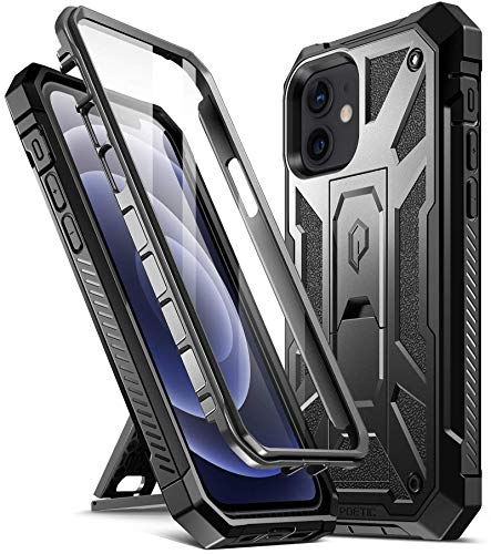 Poetic Spartan for iPhone 12/ iPhone 12 Pro 6.1 inch Case, Full-Body Rugged Dual-Layer Metallic Color Accent with Premium Leather texture Shockproof Protective Cover with Kickstand, Metallic Gun Metal