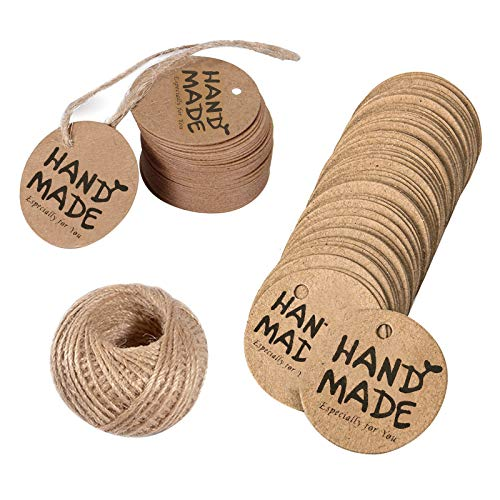 100 PCS Handmade Especially for You Tags, Round Gift Tag Kraft Brown Card Luggage Tags Labels Wedding Favour Craft Hang Tags with 20m String Jute Twine for Birthday Presents Crafts