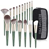 BESTOPE PRO Makeup Brush 16Pcs Premium Synthetic Makeup Brush Kit for Foundation Powder Concealers Eye Shadows Lip Blending Shader Cosmetic Brush Include Face Make Brushes with Premium Travel Cosmetic Bag Gift for Women Girls(Green)