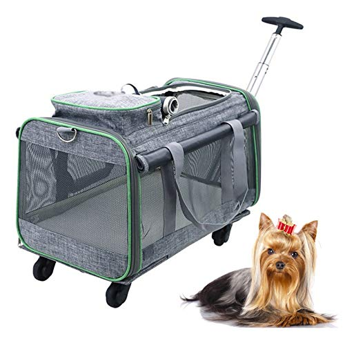 Foldable and Detachable Pet Trolley Bag, Multifunctional 4-wheel Breathable Trolley Case, Environmentally Friendly Cat and Dog Pet Stroller, Suitable for Traveling with Pets
