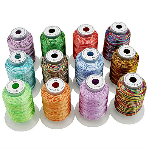 New brothread 12 Multi Colores 500M(550Y) Poliéster Bordado Máquina Hilo para Brother Babylock Janome Singer Pfaff Husqvarna Bernina Bordado Máquinas-Surtido1