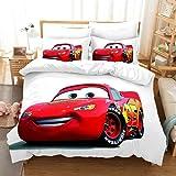 Ropa de cama infantil Disney Cars 3D Pixar Car Joven ropa de cama 1 funda nórdica 2 fundas de almohada 50 x 75 cm, 100% microfibra (DNSKT-3,220 x 240 cm + 2 x 50 x 75 cm)