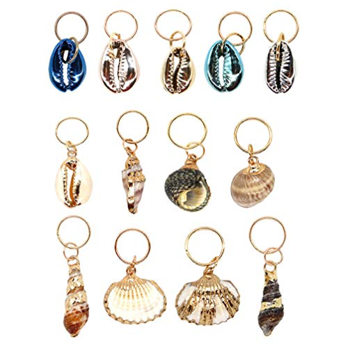 EXCEART 13pcs Hair Braid Rings Shell Headpiece Hair Clips Pendant Ocean Conch Seashell Enamel Charms Pendants for Diy Jewelry Making Hair Jewelry Accessories