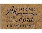 Artswow Custom Doormat Personalized Family Name Door Mat As for Me and My House We Will Serve Teh Lord Door Mat Indoor Outdoor Decorative Non-Slip Rubber Mat 23.6 Inch by 15.7 Inch