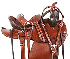 100% Natural Premium Leather Color: Medium Oil Headstall, Reins, and Breast Collar Included Hand Carved Tooling Wood Base Tree Wrapped In Fiberglass