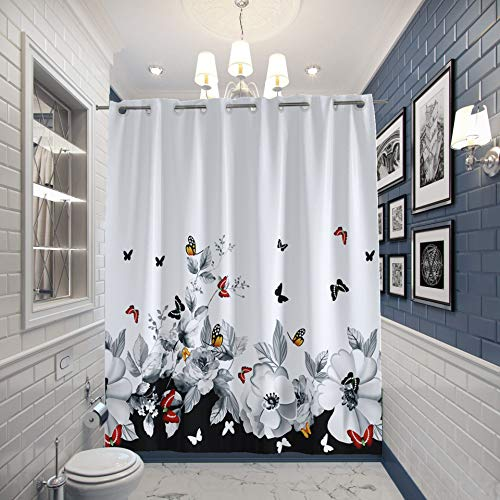 """JOYMIN Floral Fabric Shower Curtain No Hooks Needed 