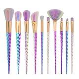 GBY - Juego de brochas de maquillaje (10 unidades, 7 piezas, 5 unidades), color blanco, Fibra artificial., multicolor, 7