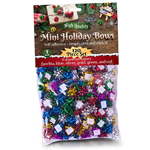 "120 Pcs Value Pack 1"" Mini Christmas Bows Multi Colored Metallic Star Shaped Stick On Xmas Bows. Perfect for Gifting Presents Party Favors Decorations Presenting Any Occasion Birthdays Holiday Season"