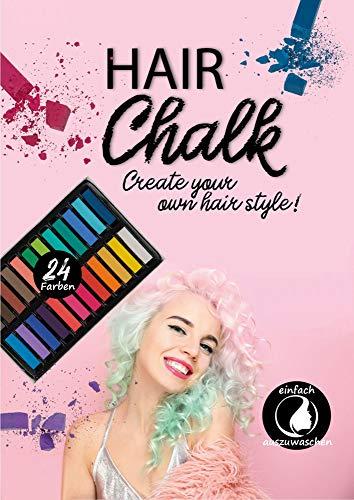 PhiLuMo Haar-Kreide - Set mit 24 Bunte Farben, auswaschbar - temporäre Haarfarbe für Fasching, Karneval & Halloween