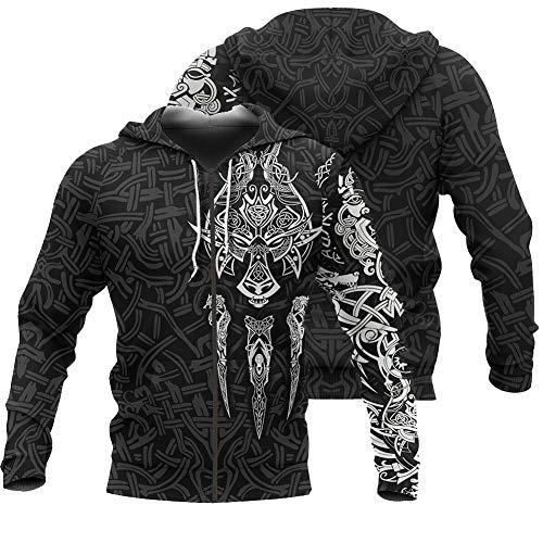 Odin Runs Fenrir Wolf 3D Digital Gedruckt Sweatshirt Wikinger Tattoo Hoodie Unisex...