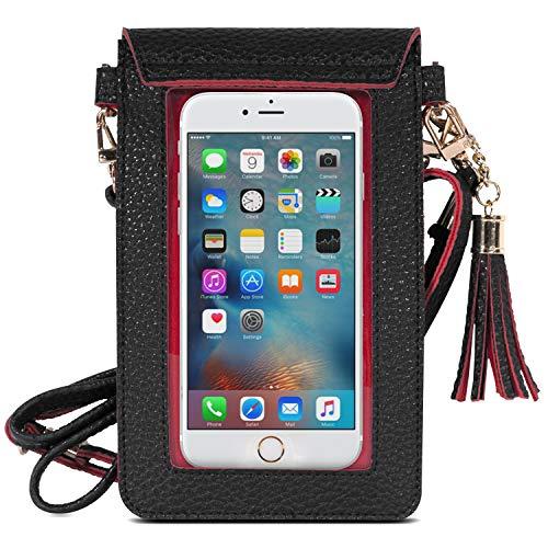 MoKo 5,5 Zoll Handy Tasche Hülle, 2-in-1 PU Leder wasserdichte Handtasche Schultertasche mit Straps Ersatz für iPhone 12 Mini/SE 2020/11 Pro/11/Xs/Xs Max/XR, Galaxy S10e/S10/S10 Plus, Schwarz/Rot