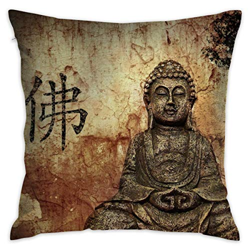 antoipyns Throw Pillow Covers-Peaceful Buddha Throw Pillow Covers Home Decor Design Set Cushion Case for Sofa Bedroom Car(18 X 18 in)