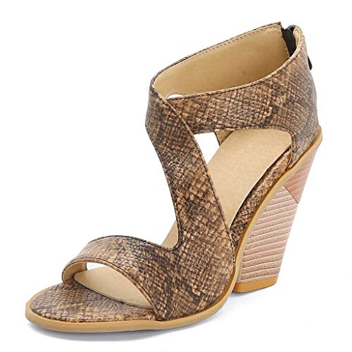 Affordable JOYFEEL Womens Snake Print Open Toe Wedges Sandals Suede Leather Cut Out Chunky Block Heels Roman Sandals Zipper Shoes Brown