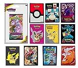 Booster Pokemon sous Blister Version française + 10 Protège-Cartes Pokemon Officiels Assortis à...
