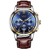 LIGE Uhren Herren Wasserdicht Chronograph Sport Analog Quarzuhr Mann Datum Mode Business Uhr Hohe Qualität Braun Leder Uhren