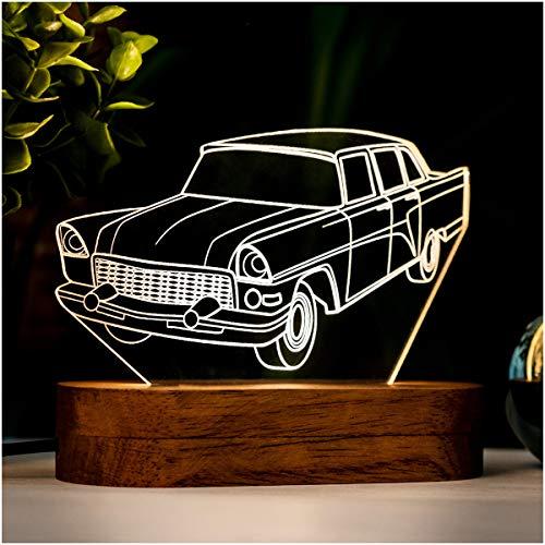 Lámpara de noche en 3D con diseño de coche clásico en forma de coche clásico con forma de coche clásico. Lámpara de escritorio de acrílico regalo para los amantes de los coches clásicos.