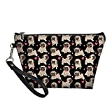 HUGS IDEA Leather Toiletry Clutch Bag for Women Novelty Pug Dog Love Pattern Cosmetic Brush Organizer